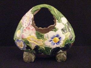 Japanese Banko Ware Footed Basket Vase