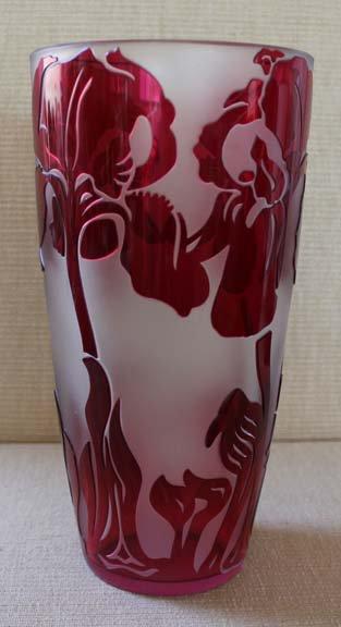 val saint lambert cranberry cameo glass vase  artist signed