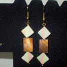 Brown and White Mother of Pearl Dangle Earrings