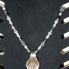 Silver and Black Bead Stretch Necklace with Glass Pendant