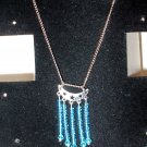 Crescent Charm with Blue Crystals on Necklace