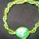 Green Seed Bead Stretch Bracelet with Green Mother of Pearl Nugget
