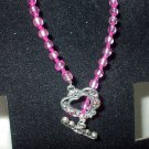Pink Bracelet with Heart Toggle Clasp