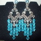 Antique Silver Earrings with Aqua and Turquoise Crystals