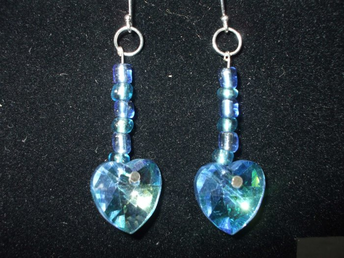 Sterling Silver Earrings with Blue Beads and Blue Heart