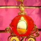 Pumpkin Carriage Key Chain Ring Charm Swarovski Crystal