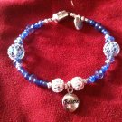 "Beaded Blue SS ""Believe"" Charm Bracelet"