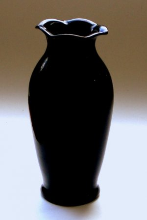 Louie Art Glass Blown Vase Black Amethyst Depression Era West Virginia