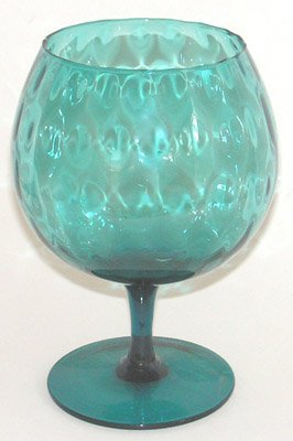 Vintage Glass Goblet Vase Teal Diamond Optic Pattern