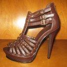 "Brown 5"" Gladiator Platform Heels"