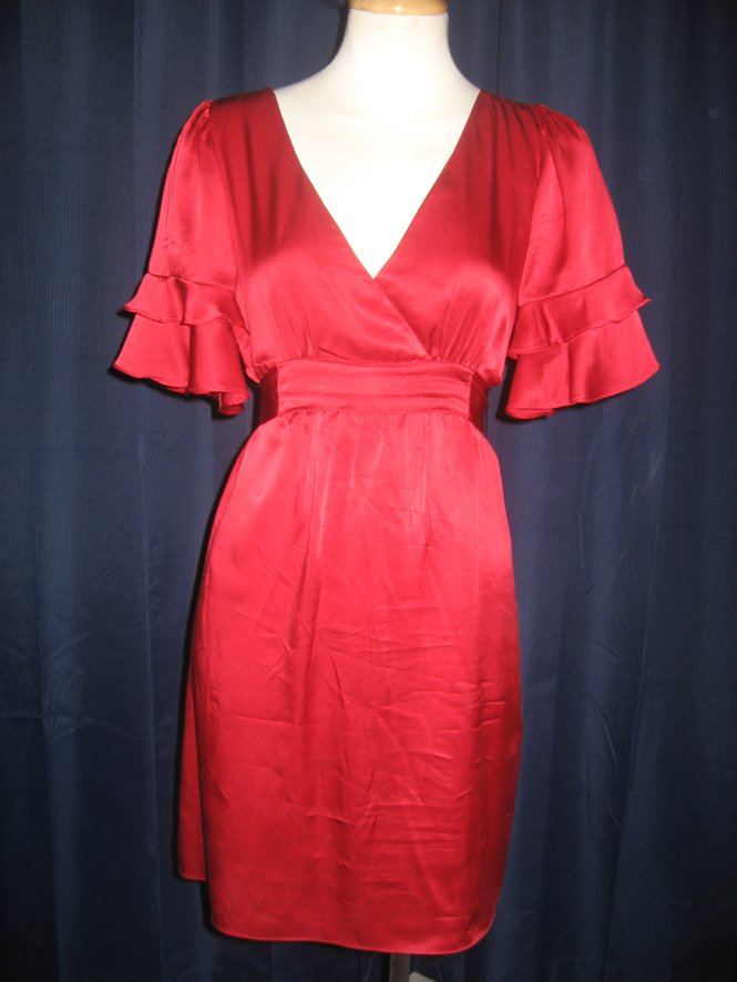 Red Betsey Johnson Silk Dress 6