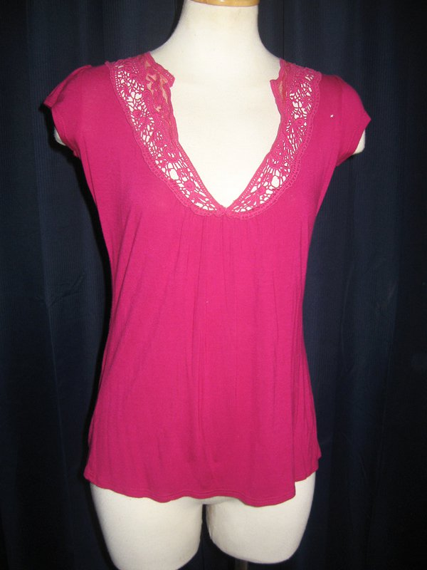 Fuchsia Lace Accent Anthropologie Top S