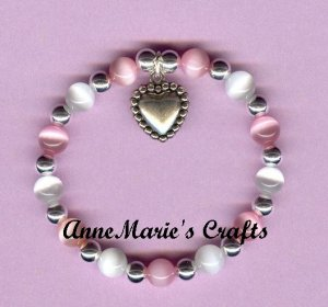 Girls Beaded Heart Sterling Silver Charm Bracelet