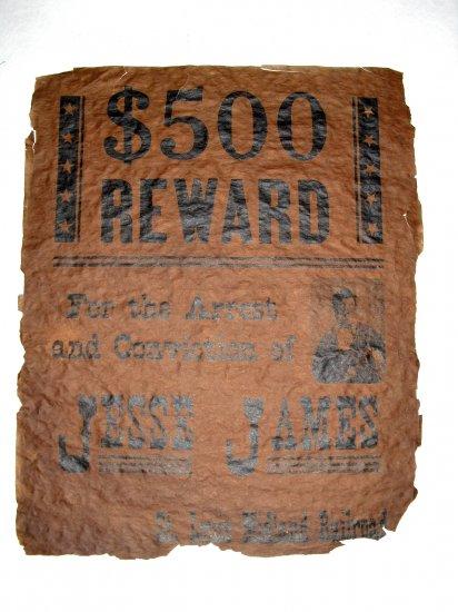 Vintage Antique Wanted Poster Jesse James Paper