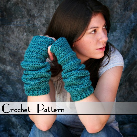 Crochet Pattern for Scrunchy Fingerless Gloves