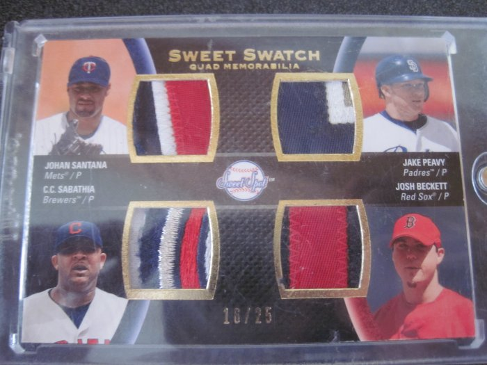 Quad jersey patch of Sabathia Santana Peavy and Becket #16/25 (13 colors)!!!!!