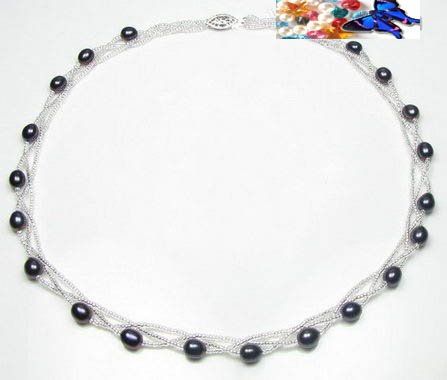 Black cultured twisted pearl necklace