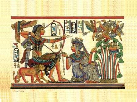 PHARAOH & LION HUNTING BIRDS - Handmade on Egyptian Fine Art Papyrus - Direct from EGYPT