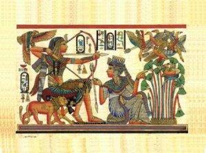PHARAOH & LION HUNTING BIRDS - Handmade on Egyptian Fine Art Papyrus - Direct from EGYPT