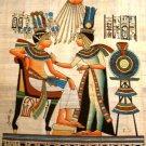 PHARAOH & QUEEN SUN GOD ATEN - Handmade on Egyptian Fine Art Papyrus - Direct from EGYPT