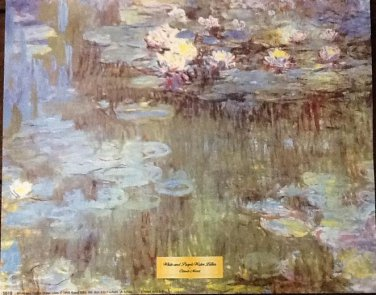 WHITE AND PURPLE WATER LILIES Fine Art Print Repro by Artist CLAUDE MONET
