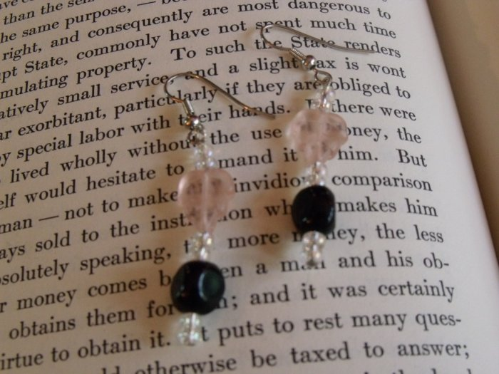 Pink and Black Retro Earrings