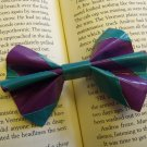 Teal and Purple Stripe Bow