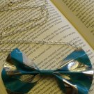 Teal and Silver Striped Bow Necklace