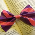 Purple and Pink Striped Bow