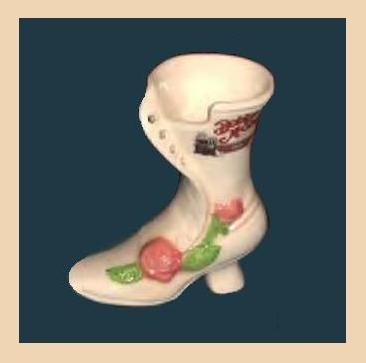 Vintage 1970s Porcelain Women's Antique Style Rose Shoe Porcelain Vase