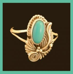 Native American New Mexico Navajo Indian Blue Turquoise 925 Sterling Silver Ring with Artist Initial