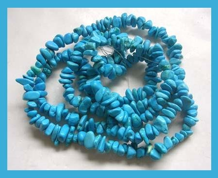 Native American Navajo Indian Blue Turquoise Polished Gemstone 34 inch Single Strand Necklace