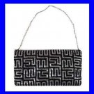 Black Beaded Geometric Pattern Silver Satin Purse Handbag Evening Bag