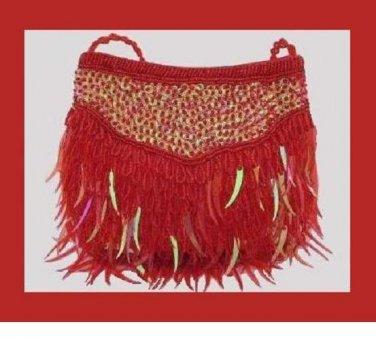 Fiery Red Beads Sparkling Iridescent Icicle Sequins Handmade Purse Handbag Evening Bag