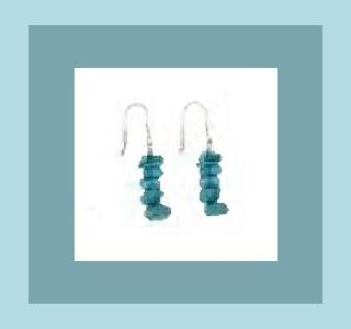 POLISHED TURQUOISE GEMSTONE & STERLING SILVER 1 INCH FISHOOK EARRINGS - NEW!