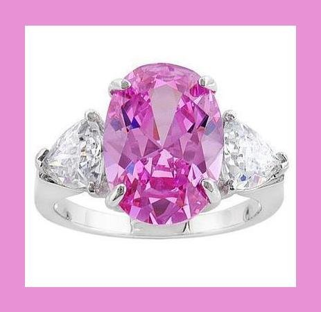 BRILLIANT! PINK OVAL & WHITE TRILLION CZ & STERLING SILVER BLING RING - NEW!