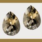 23.90ctw SMOKY QUARTZ Checkerboard Pear Loose Gemstones - 100% Natural Real Genuine