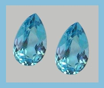 4.00ctw SWISS BLUE TOPAZ Pear 9x6mm Faceted Loose Gemstone Set - 100% Real Natural Genuine