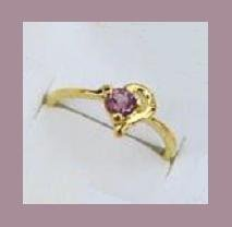 Sparkling Round 1/4 Carat Amethyst & Heart Shaped Gold Tone CZ Ring