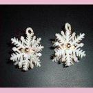White Snowflake & Gold Bead Christmas Holiday Gold Ear Wire Chandelier Earrings