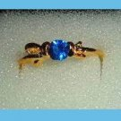 Beautiful Round Blue SAPPHIRE CZ & Bow Shaped Gold Tone Ring