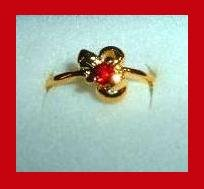 Sparkling Round Red RUBY CZ & Ribbon Shaped Gold Tone Ring
