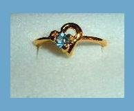 Brilliant Round London Blue Topaz CZ & Half Heart Shaped Gold Tone Ring