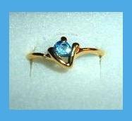 Gorgeous Round London Blue Topaz CZ & V Shaped Design Gold Tone Ring