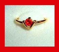 Amazing Round Cut Blood Red RUBY CZ & V Shape Design Gold Tone Ring