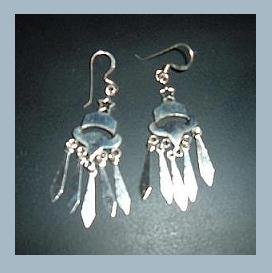 Sterling Silver Bell & Star & Icicle Chandelier Dangle Fish Hook Earrings - NEW