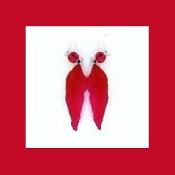Red Feather Glass Bead & Sterling Silver Fish Hook Chandelier Earrings - 3 1/2 Inches - NEW!