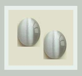 2.22ctw Set of 2 Gray CATS EYE Oval 7x5mm Cabochon Simulated Loose Gemstones