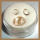 3.20ctw Lot of 3 Golden Rutilated Quartz Round and Oval Cabochon Natural Loose Gemstones