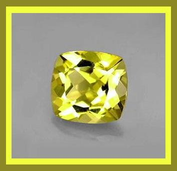 1.66ct Yellow Green CHRYSOBERYL Cushion Cut 8x8mm Faceted Natural Loose Gemstone
